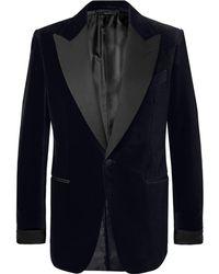 Tom Ford - Black Shelton Slim-fit Faille-trimmed Cotton-velvet Tuxedo Jacket - Lyst