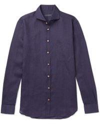 Thom Sweeney - Slim-fit Cutaway-collar Linen-chambray Shirt - Lyst