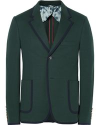 gucci varsity jacket. limited time offer gucci   green slim-fit contrast-tipped cotton suit jacket lyst varsity r