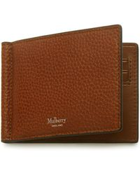Mulberry - Money Clip Wallet With Tree Plaque In Oak Natural Grain Leather - Lyst