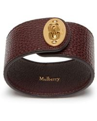 Mulberry - Large Bayswater Bracelet In Oxblood Natural Grain Leather - Lyst