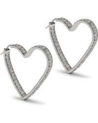 Mulberry - Ribbon Heart Strass Earrings In Crystal-silver Brass And Strass - Lyst