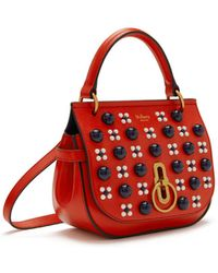 Mulberry - Small Amberley Satchel In Hibiscus Red Silky Calf Geo Floral With Cabochon - Lyst