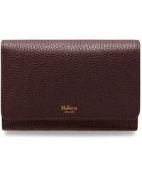 Mulberry - Medium Continental French Purse In Oxblood Natural Grain Leather - Lyst