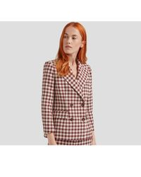 Mulberry - Tura Jacket In Burgundy Gingham Check - Lyst