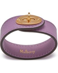 Mulberry - Bayswater Leather Bracelet In Lilac Small Classic Grain - Lyst