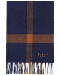 Mulberry - Large Check Scarf In Bright Navy - Lyst