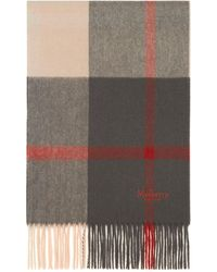 Mulberry Small Check Scarf In Seal Grey And Rust Lambswool - Gray