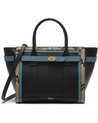 Mulberry - Small Zipped Bayswater In Black, Cream And Dark Frozen Silky Calf And Snakeskin - Lyst