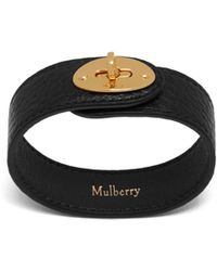 Mulberry - Bayswater Leather Bracelet In Black Natural Grain Leather - Lyst