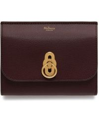 Mulberry - Amberley Medium Wallet In Oxblood Cross Grain Leather - Lyst