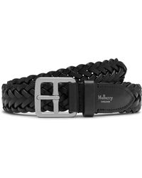 Mulberry - 30mm Boho Buckle Braided Belt In Black Natural Leather - Lyst