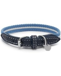 Mulberry - 1.2cm Graduate Collar In Ink Blue Leather And Striped Webbing - Lyst