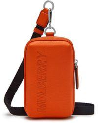 ff799f2271e Mulberry - Zipped Pouch In Mandarin Orange Heavy Grain - Lyst