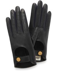 Mulberry - Biker Gloves In Black-navy Smooth Nappa - Lyst