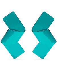 Mulberry - Ribbon Stud Earrings In Turquoise Varnished Brass - Lyst