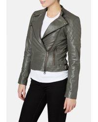 Muubaa - Hudson Dark Grey Biker Jacket - Lyst