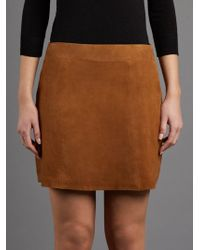 Muubaa - Flore Tan Suede Mini Skirt - Lyst