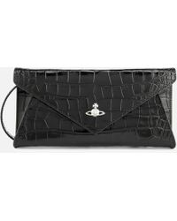 40c817d3b7 Vivienne Westwood Navy Blue Modern Reptile-effect Leather Envelope Clutch  Bag in Blue - Lyst