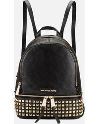 MICHAEL Michael Kors - Rhea Zip Studded Leather Backpack - Lyst f6411bbe42dfd