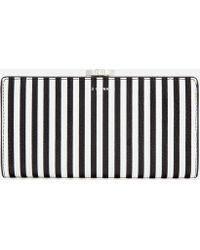 Lulu Guinness - Stripe Leather Frame Purse - Lyst