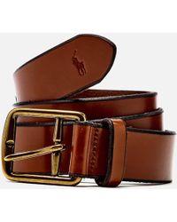 Lyst Polo Ralph Lauren Logo Patch Belt In Brown For Men