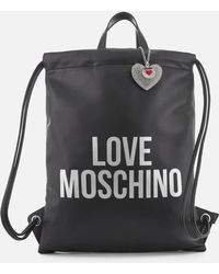 3d0d9cd6dfdee Lyst - Love Moschino Logo Embossed Convertible Backpack Tote