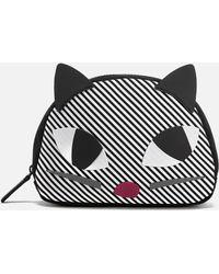 Lulu Guinness - Women's Stripe Kooky Cat Crescent Pouch - Lyst