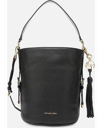 a408ad779e3875 MICHAEL Michael Kors Brooke Leather Shoulder Tote Bag in Black - Lyst
