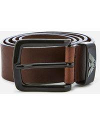 Emporio Armani - Vitello Mosso Leather Belt - Lyst