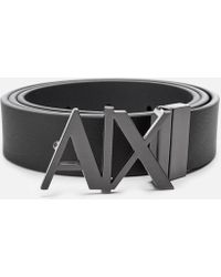Armani Exchange Men s Black Leather Belt in Black for Men - Lyst a74426d166e