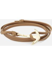 Miansai - Leather Bracelet With Gold Anchor - Lyst
