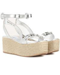 Prada - Embellished Espadrille Sandals - Lyst