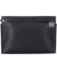 Loewe - T Pouch Leather Clutch - Lyst