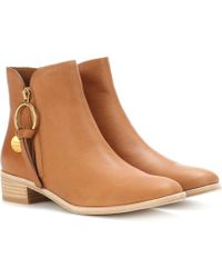 See By Chloé - Louise Flat Leather Ankle Boots - Lyst