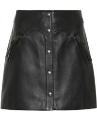 COACH - Snap-front Leather Miniskirt - Lyst