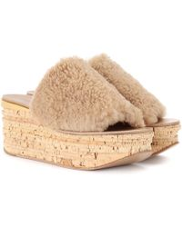 Chloé - Camille Shearling Wedge Mules - Lyst