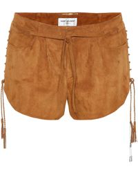Saint Laurent - Suede Shorts - Lyst