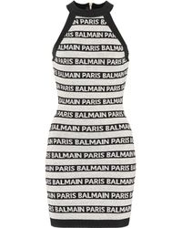 Balmain - Short Logo Printed Dress - Lyst