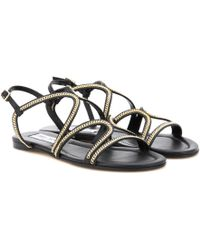 Jimmy Choo - Nickel Flat Embellished Leather Sandals - Lyst