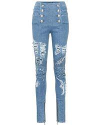Balmain - Jeans slim a vita alta distressed - Lyst
