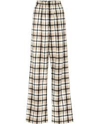 Balenciaga - Checked Wool-blend Wide-leg Trousers - Lyst