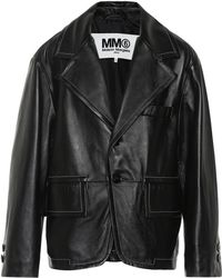 MM6 by Maison Martin Margiela - Oversized Leather Jacket - Lyst