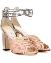 2091533ae9b4 Jimmy Choo - Tristen 100 Satin And Leather Sandals - Lyst
