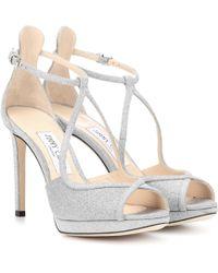 Jimmy Choo - Fawne 100 Glitter Sandals - Lyst