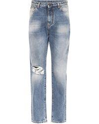 Saint Laurent - High-rise Distressed Jeans - Lyst