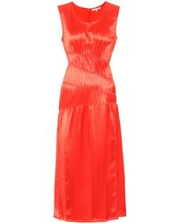 Helmut Lang - Woman Satin Mini Dress Papaya - Lyst