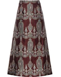 Alessandra Rich - Printed Silk-blend Skirt - Lyst
