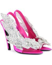 Balenciaga - Embellished Satin Sandals - Lyst