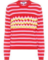 MSGM - Striped Cotton Sweater - Lyst